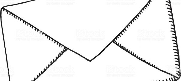Hand-drawn vector sketch of a Letter Envelope. Black-and-White sketch on a transparent background (.eps-file). Included files: EPS (v8) and Hi-Res JPG.